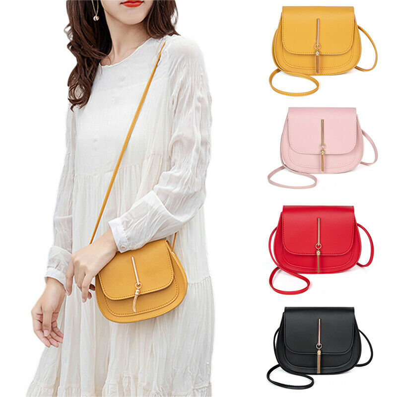 New Arrival Women Small Cross Over Body Bag Ladies Shoulder Messenger Bags Ladies Hasp Solid Tassel Flat Shoulder Bags