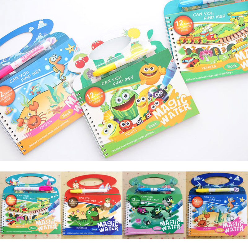 Magic Water Drawing Book Coloring Book Doodle & Magic Pen Painting Drawing Toy Gift Painting Board For Kids Boys Girls Education