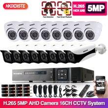 H.265 16ch ahd 5mp dvr kit 16 canais dvr hd 5mp 1920p ao ar livre à prova dwaterproof água cctv sistema de câmera segurança kit vigilância por vídeo