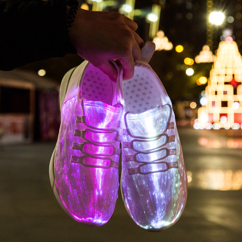 UncleJerry Size 25-47 New Summer Led Fiber Optic Shoes for girls boys men women USB Recharge glowing Sneakers Man light up shoes 2