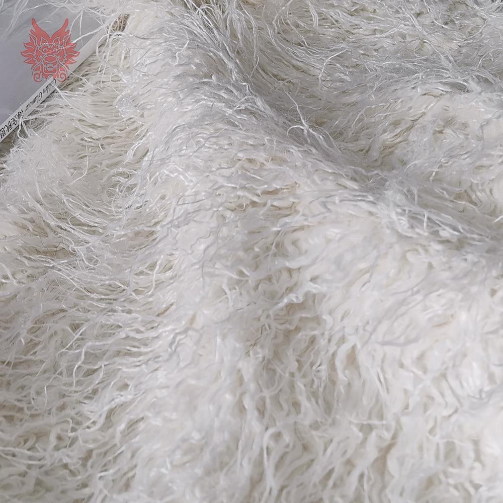 Cream White 7cm Long Pile Fluffy Faux Tibet Sheep Fur Fabric Newborn Baby Photography Props Tissu 160*50cm 1pc SP5572 Free Ship