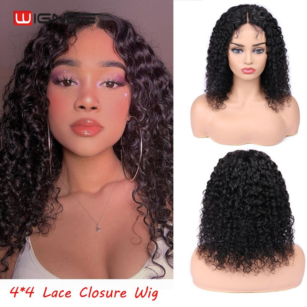 Wignee 4x4 Lace Closure Short Curly Human Hair Wigs With Baby Hair For Black Women Remy Hair Pre Plucked Hairline Lace Human Wig