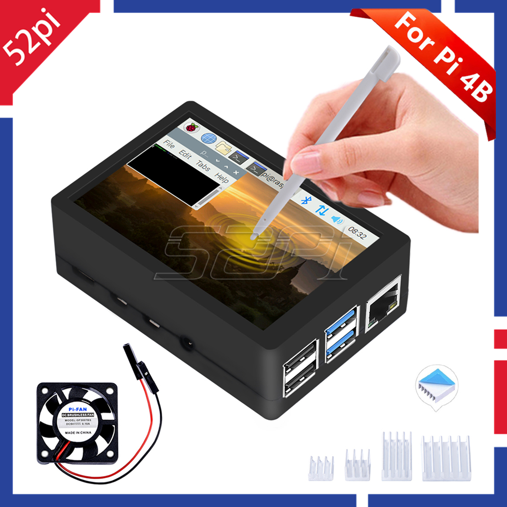 52Pi New Arrival Raspberry Pi 4 480*320 3.5 Inch Resistive Touch Screen TFT Display Monitor With ABS Case Cooling Fan Heatsinks