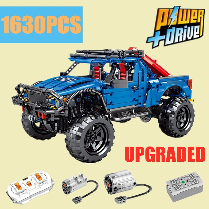 RC MOTOR Classic Racing Ford F-150 Raptor Mustang Pickup Car Truck Fit Legoings Technic City Model Building Blocks Kid Gift Toy