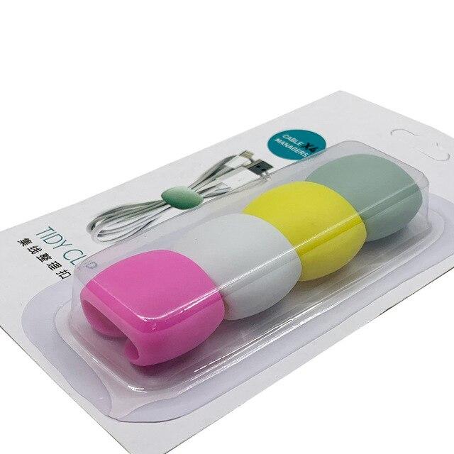 4 шт. устройство для сматывания кабеля простой круглый зажим USB зарядное устройство Настольный аккуратный органайзер для проводов шнур для настольного кабеля фиксированный - Цвет: Style 2