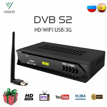 цена на Hot Sale Europe DVB-S2 Digital TV Tuner Fully HD 1080P Satellite TV Receiver Support Dolby Cccam Youtube Bisskey With USB WIFI