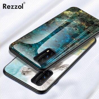 Перейти на Алиэкспресс и купить Чехол с мраморным стеклом для IQOO Z1X, чехол с мягкой силиконовой рамкой, жесткий чехол для телефона VIVO IQOO Z1X 5G, тонкий Чехол