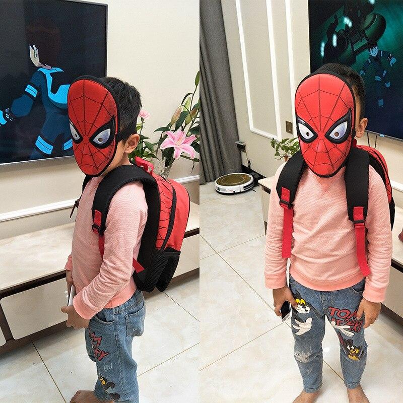 Genuine Product Spider-Man Kindergarten School Bag BOY'S Preschool Mask Burden Relieving Spine-3-6-Year-Old Small Backpack