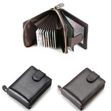 Vintage Genuine Leather Men's Wallet Credit Card Holder RFID Blocking Zipper Money Pouch Passport Cover Protect Case Money Purse
