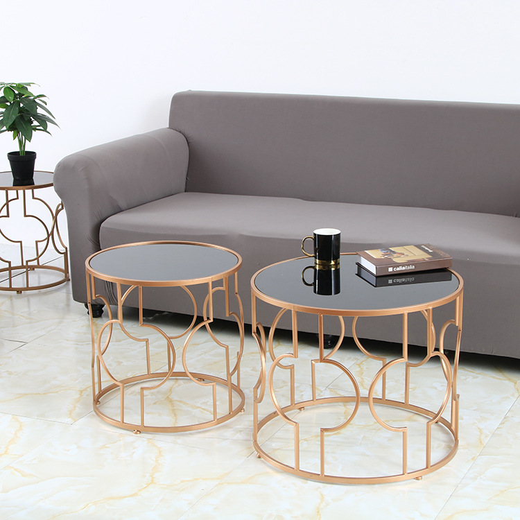 Us 54 95 41 Off Creative Round Home Living Room Coffee Table Nordic Wrought Iron Glass Coffee Table Hotel Apartment Home Modern On Aliexpress