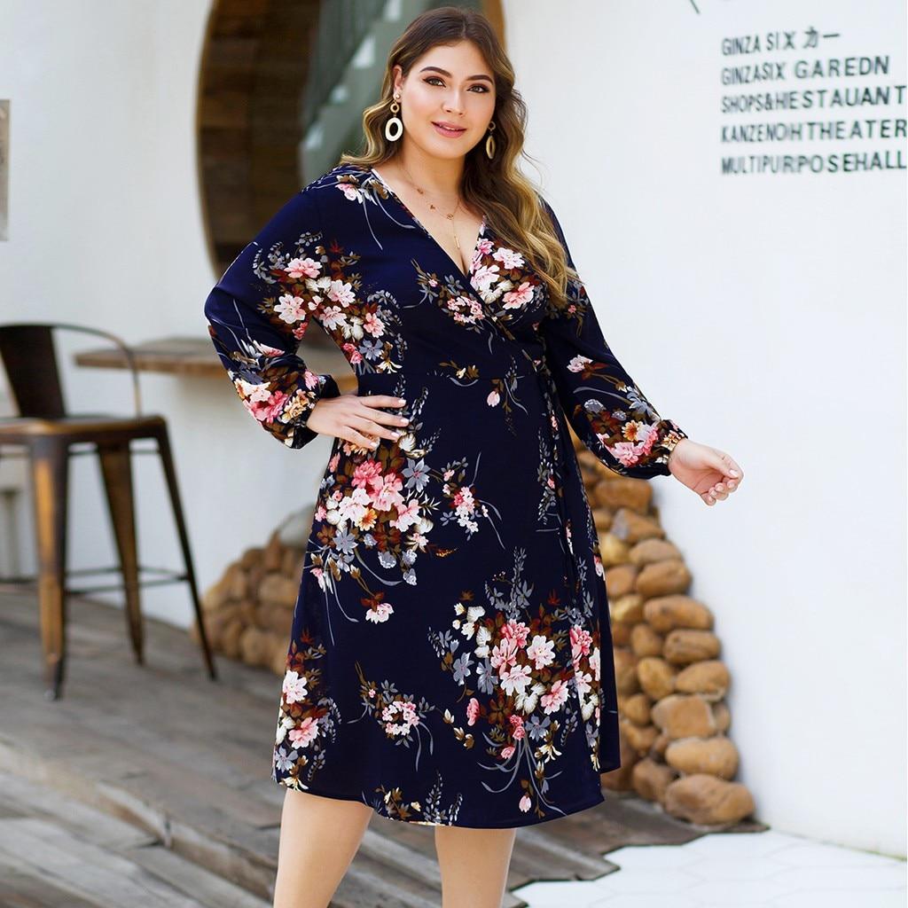 Kleid frauen ropa mujer vestidos de verano kleider vestidos verano 2019 mujer robe neue Casual Langarm Floral A-line XL-4XL z4