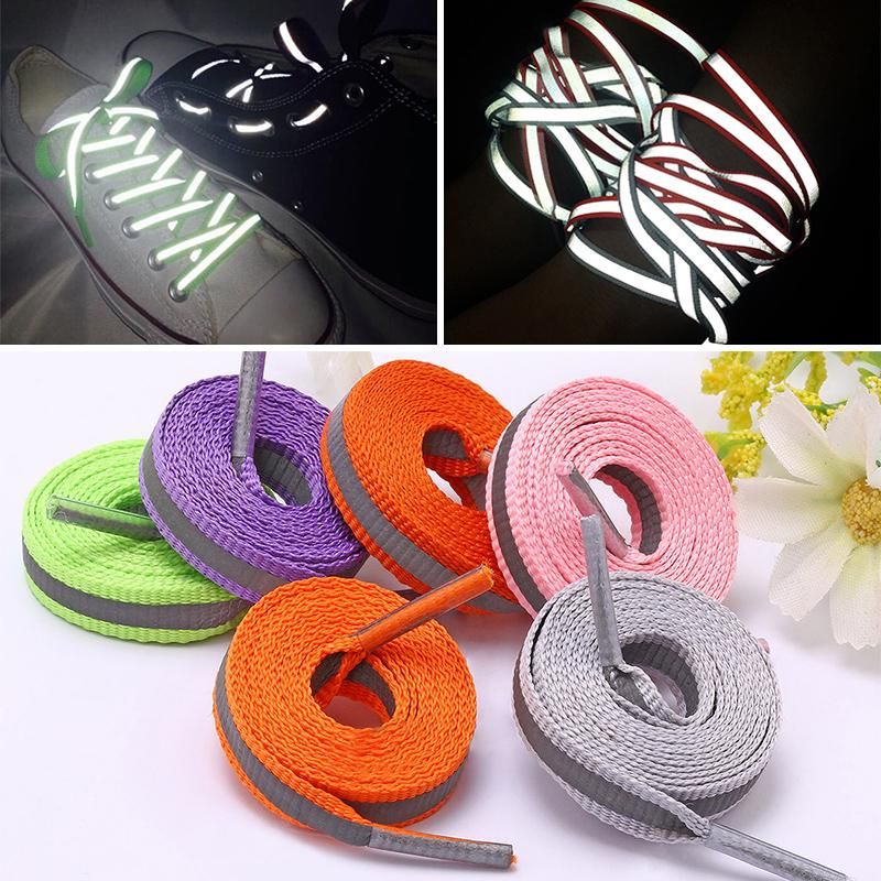 1Pair 3M Flat Reflective Shoelaces Runner Shoe Laces Safety Luminous Glowing Shoelace For Unisex Sneaker Shoelaces
