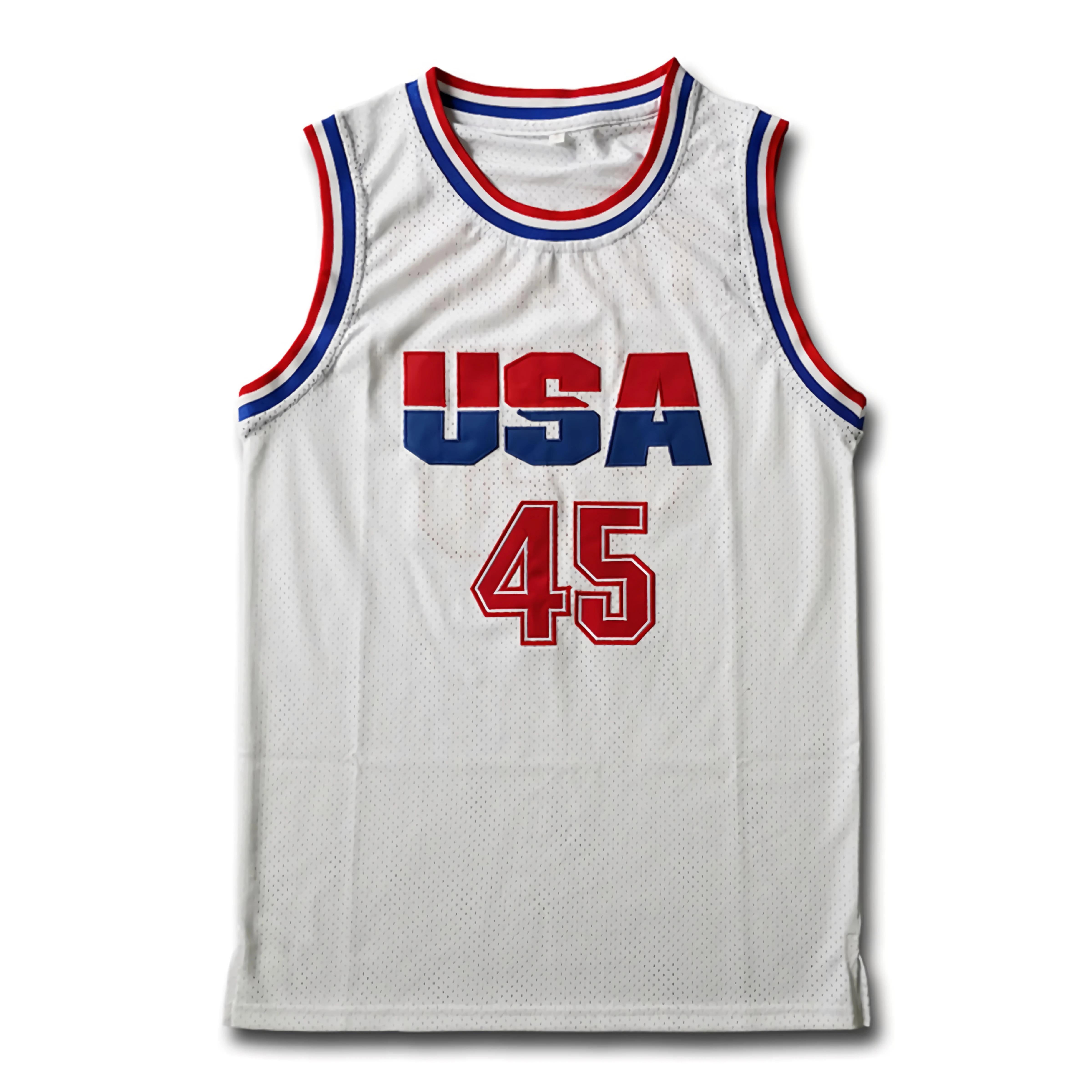 Mens USA Basketball Jerseys Donald Trump 45 Jersey 2016 Commemorative Edition Donald Trump Stitched White Shirts