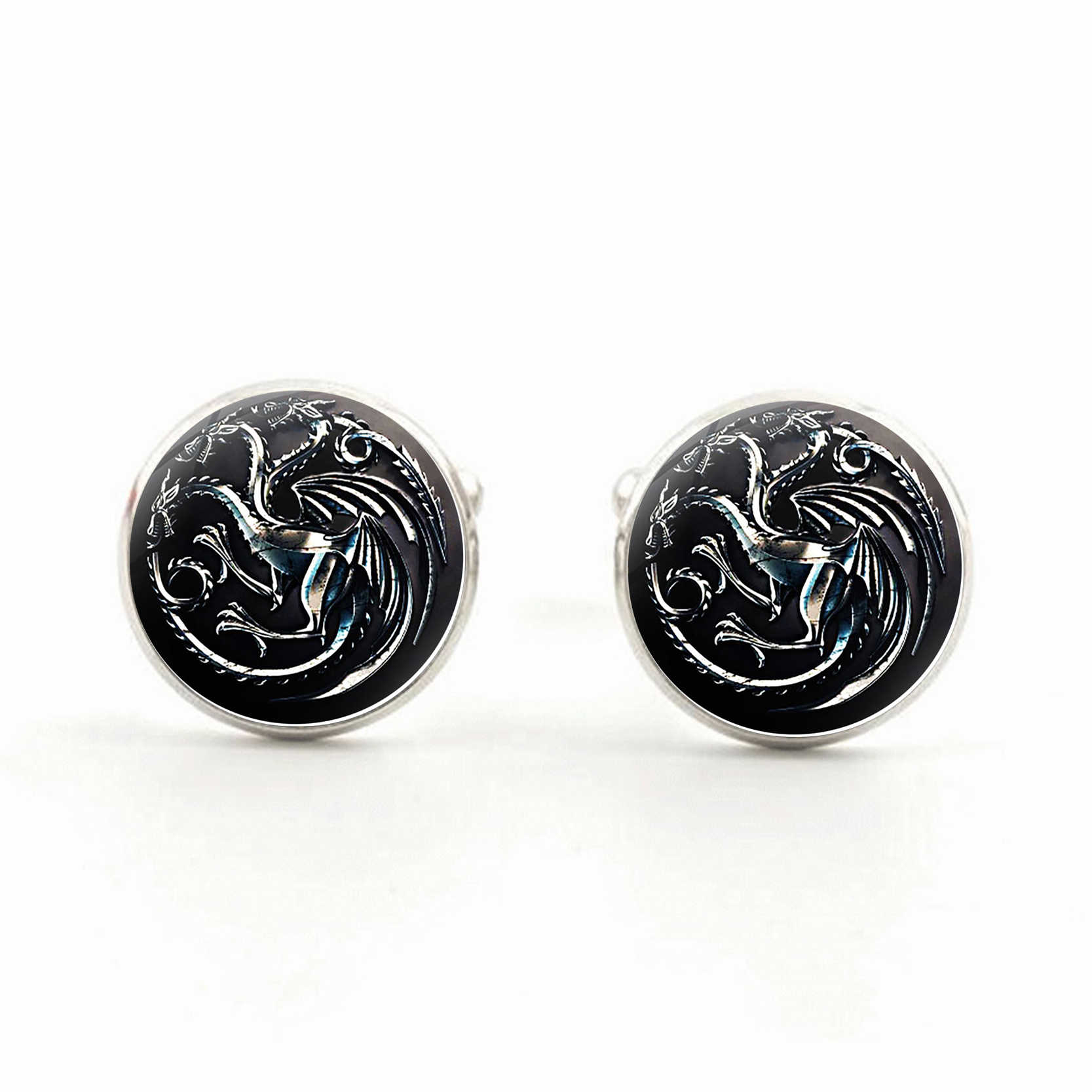 Silver Plated Game of Thrones Shirt Cufflinks House Stark Winter is Coming Round Glass Dome Cuff  Men Sleeve Button Gift