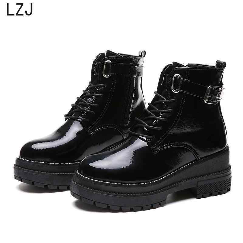 LZJ 2019 Women's Flat Platform Ankle Boots Spring Patent Leather Boot Black Lace Up Creepers Shoes Fashion Party Footwear Chunky