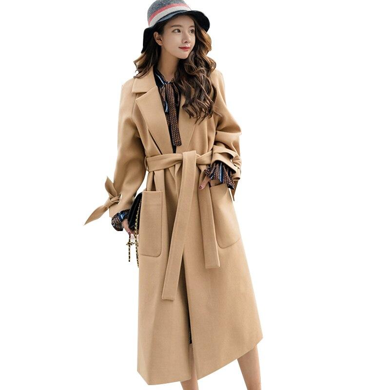 Kadın Giyim'ten Yün ve Karışımları'de Wmswjh 2019 Sonbahar/kış Yeni Kadın Rahat yün blend trench coat boy Kaşmir Palto Hırka Uzun ceket kemer A220'da  Grup 1