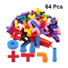 64pcs Creative Kids Building Blocks Children Educational Playings Water Pipe Building Blocks Toys for Boys Girls Christmas Gift(China)