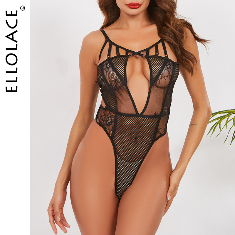 Ellolace Sexy Bodysuit Lingerie Women Mesh Bodys See Through Hollow Out Female Romper Transparent Black Bodysuits Bodysuit