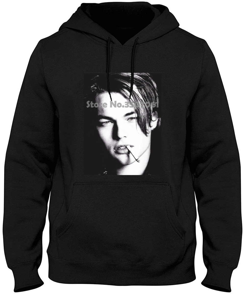 Young Leonardo Dicaprio Bw Portrait Hollywood Actor Titanic Grey White Couple Homme Hipster New Hoodies & Sweatshirts image