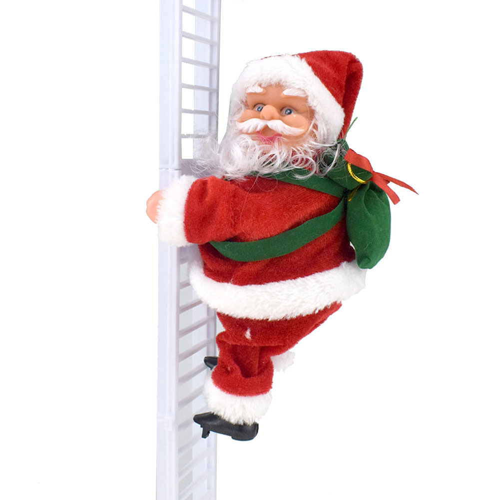 Novelty Funny Electric Climb Ladder Santa Claus Christmas Decorations Creative Plush Santa Claus Doll Toy