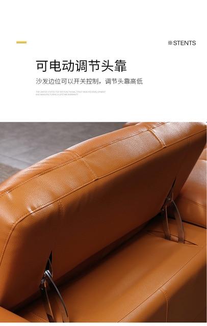 European Style Living Room Furniture Top Genuine Leather sofa L shape  258 X 170 cm electric recliner designer corner couch 6