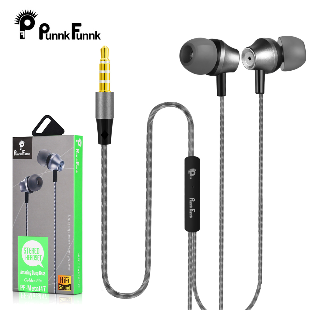 PunnkFunnk Metal Wired Earphone Sport In Ear Hifi Bass Stereo Headset For IPhone Samsung Xiaomi Headset Fone De Ouvido Auricular