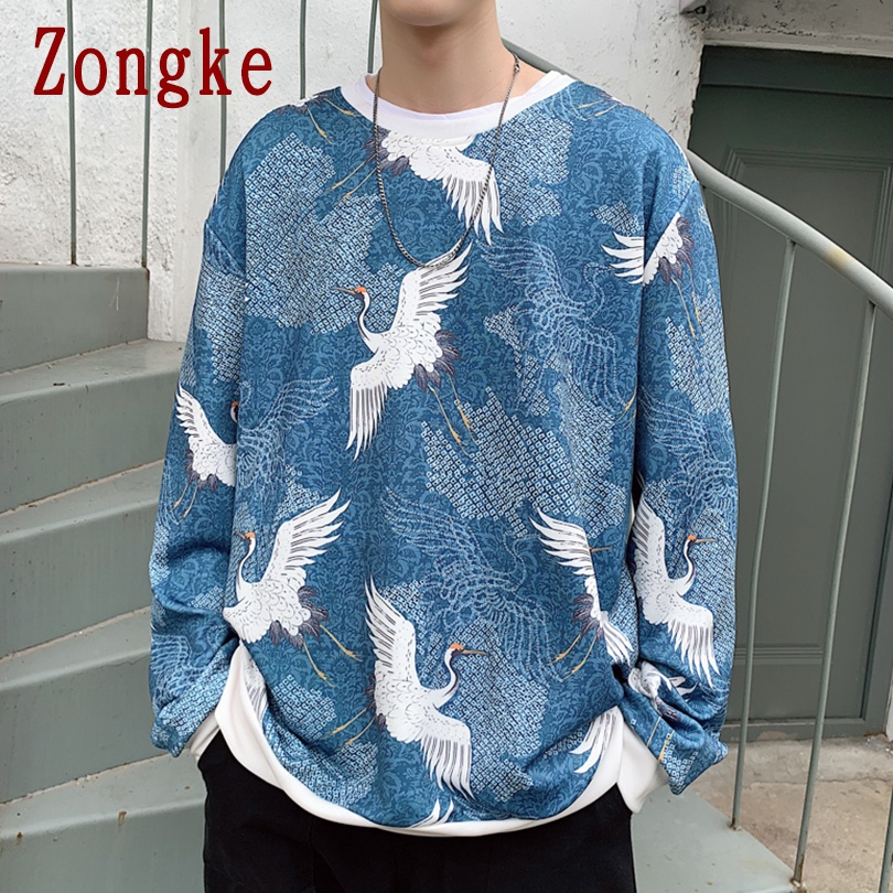 Zongke 2020 New Spring Crane Print Hip Hop Pullover Sweatshirt Men Casual Sweatshirts Men Fashion Streetwear Brand Coat M-5XL