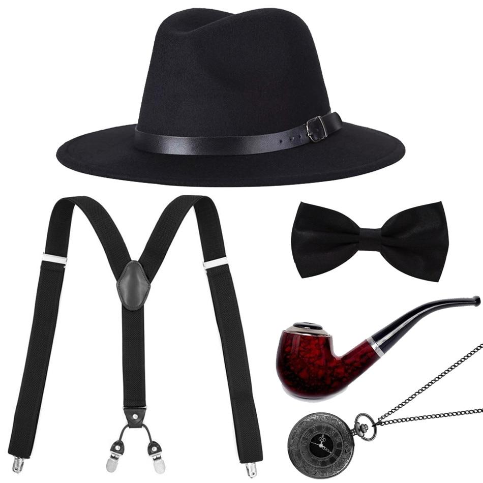 Vintage Roman Numerals Quartz Pocket Watch With Gentlemen Hat+Suit Pants Shoulder Strap+Bow Tie+Tobacco Pipe Retro Gift For Male