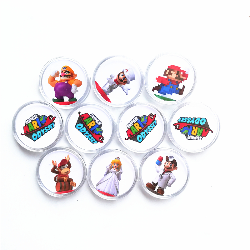 10Pcs High Quality Super <font><b>Mario</b></font> Odyssey Of <font><b>Amiibo</b></font> NFC Game <font><b>Card</b></font> Ntag215 Collection Coin Tag For NS Switch WiiU Plastic Box image