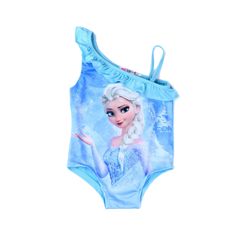 2 3 4 5 6 Years Girls Swimwear For Kids Elsa Anna Print Swimsuit Toddler One Piece Baby Cartoon Swim Wear Beachwear Beach Cute