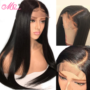 Image 5 - Mshere Straight Lace Front Human Hair Wigs 13x4 Brazilian Straight Hair Wig with Baby Hair 4x4 Lace Closure Wig Pre Plucked 150%