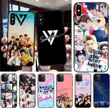 CUTEWANAN KPOP Seventeen Black Soft Shell Phone Case Capa for iPhone 11 pro XS MAX 8 7 6 6S Plus X 5S SE XR case cutewanan shooting game apex legends black soft shell phone case capa for iphone 11 pro xs max 8 7 6 6s plus x 5s se xr case