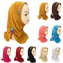 Müslüman kız başörtüsü eşarp İslam çiçek kapaklar şal tek parça Amira başörtüsü Wrap şapkalar türban arap çocuk Underscarf