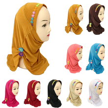 มุสลิมเด็กหญิงฮิญาบผ้าพันคออิสลามดอกไม้หมวกผ้าคลุมไหล่ One ชิ้น Amira Headscarf Wrap Headwear Turban Arab เด็ก Underscarf