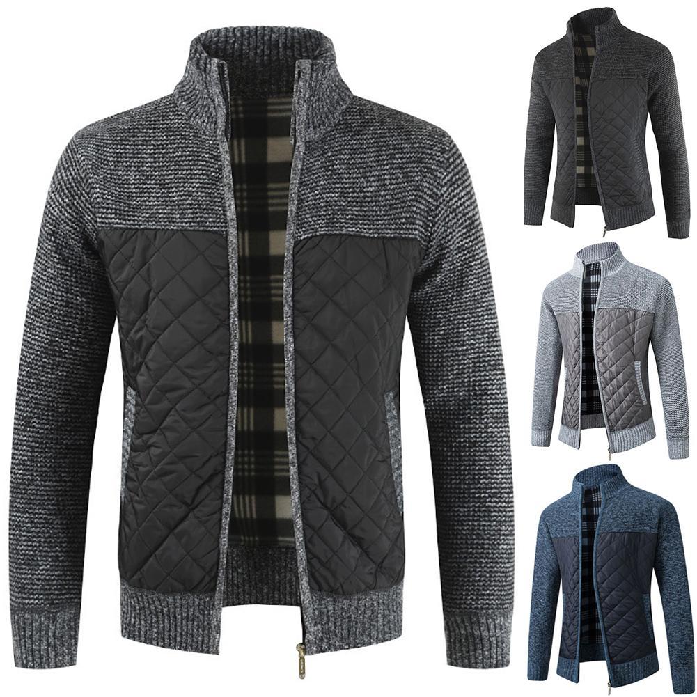 2021 Casual Men Autumn Zip Thick Knitted Sweater Pockets Warm Slim Cardigan Coat мужская куртка 5
