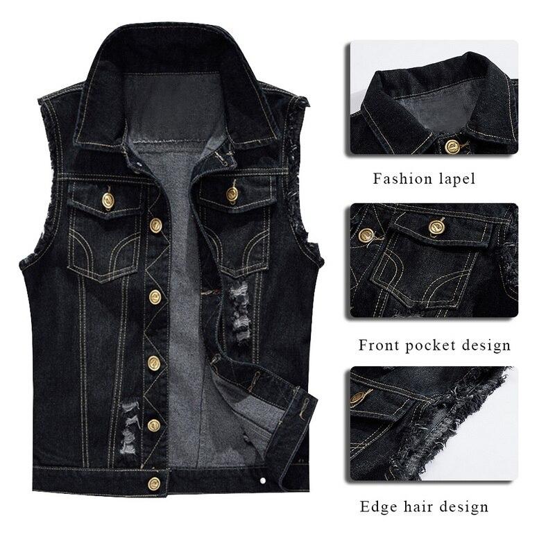 MJARTORIA New Spring Big Size Brand Clothing Elastic Denim Vest Men's Sleeveless Jeans Jackets Vintage Casual Vest Man Waistcoat
