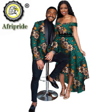 African Clothes for Couple African Dresses for Women Lace Maxi Dress Men`s Formal Jacket Print Outfits for Party Wedding S21C001
