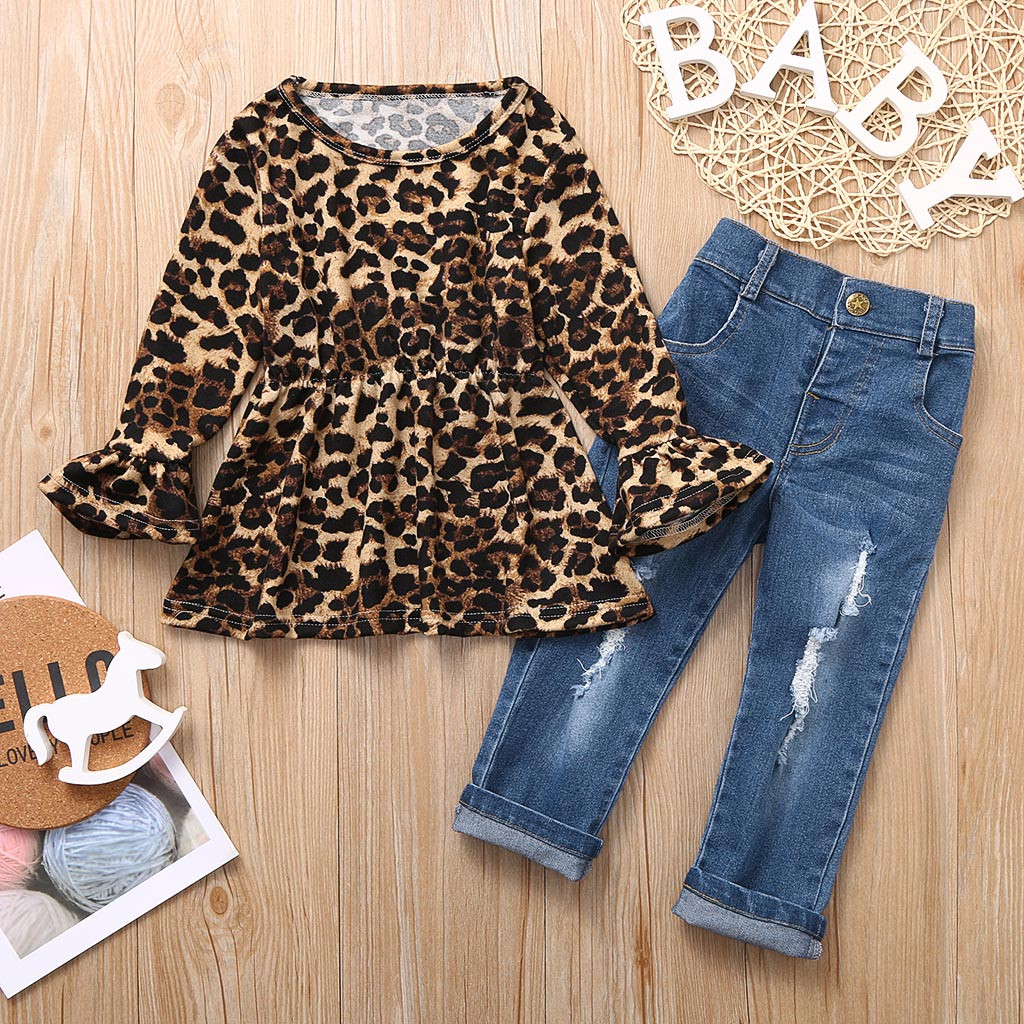 Fashion Toddler Baby Kids Girls Outfit  Long Sleeve T-shirt Tops+Jeans Pants