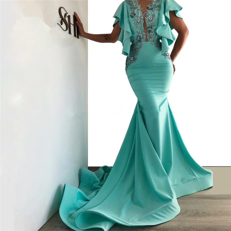 Turquoise Muslim Evening Dresses 2019 Mermaid V-neck Feather Beaded Dubai Saudi Arabic Long Evening Gown Prom Dresses