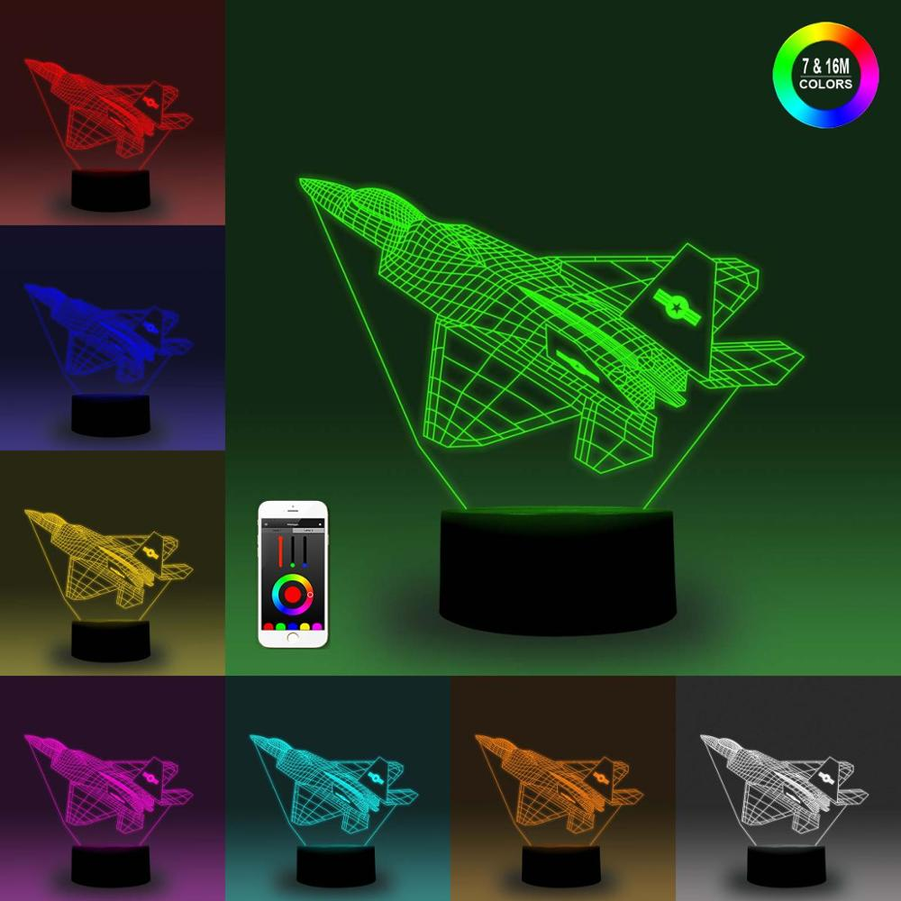 NiteApps 3D Stealth Fighter Night Light Desk Table Illusion Decoration Lamp Holiday Birthday Gift APP/Touch Control