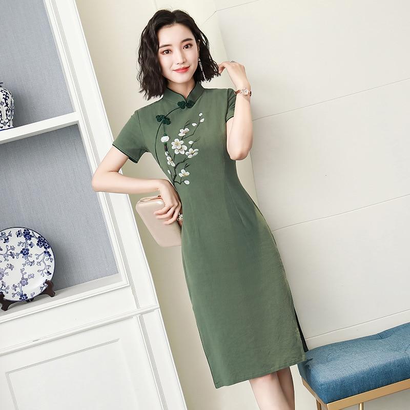 Tassel Tight Chinese Women Cotton Linen Qipao Elegant Business Flower Cheongsam Vintage Lady Short Sleeve Vestidos Size S-3XL