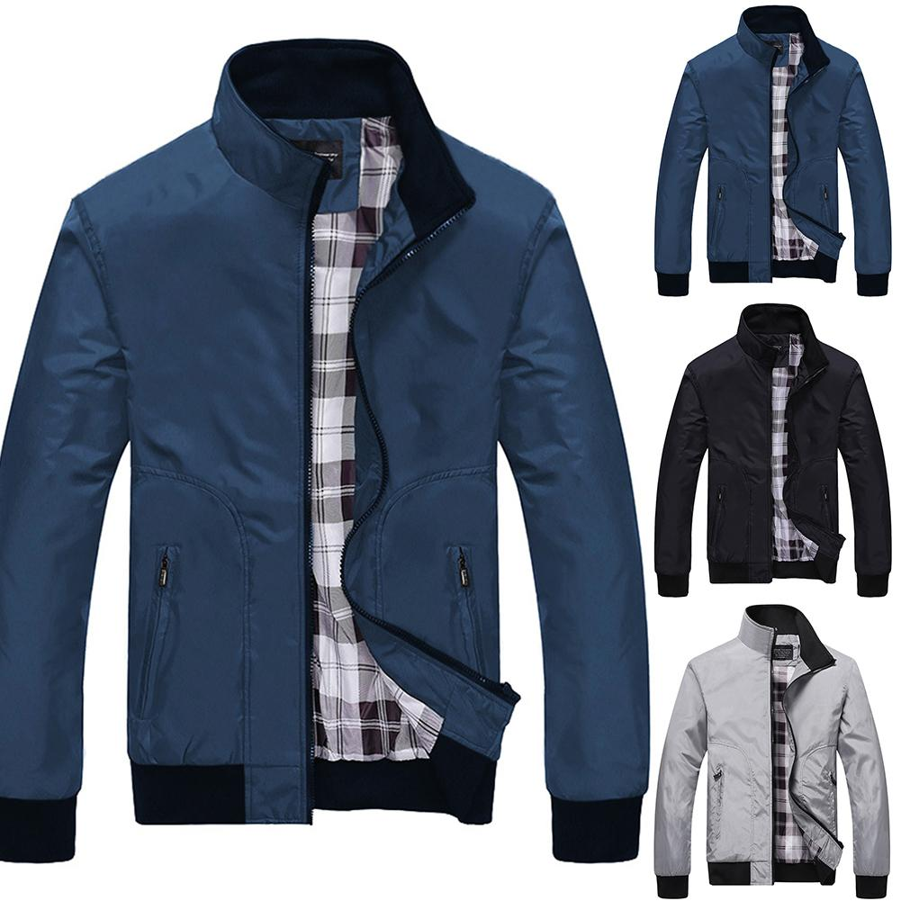 2020 Newest Fashion Men Winter Solid Color Stand Collar Zip Up Pockets Coat Pilot Jacket Top