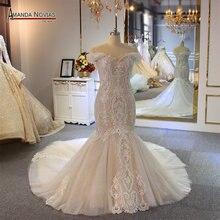 قبالة الكتف الأشرطة حورية البحر فستان الزفاف الشمبانيا اللون مخصص اللون الزفاف اللباس