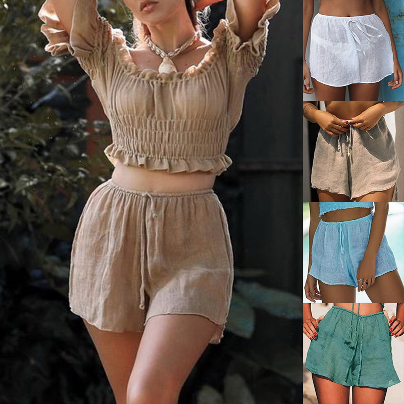 LOOZYKIT 2020 New High Waist Women Beach Hot Shorts See Through Beachwear Cover Up Solid Color Women Swimwear Chiffon Shorts