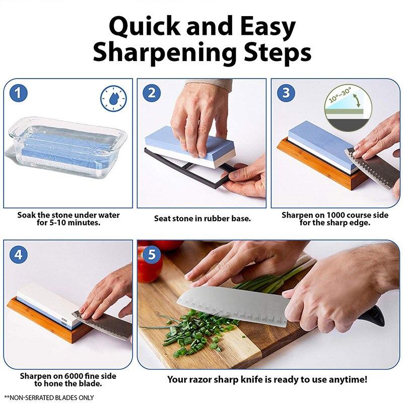 Image 4 - Knife Sharpener Whetstone Dual Side Girt Kitchen Sharpening Stone Grindstone Oilstone Honing Tool 240 600 800 1000 3000 6000 Set-in Sharpeners from Home & Garden