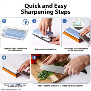 Image 4 - Knife Sharpener Whetstone Dual Side Girt Kitchen Sharpening Stone Grindstone Oilstone Honing Tool 240 600 800 1000 3000 6000 Set