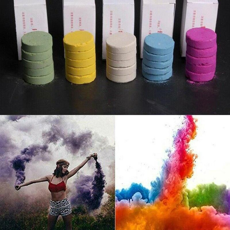 5pcs Colourful Smoke Pills Props Mini Magic Smoke Props Combustion Smog Cake Effect Portable Photography Prop Magic Trick