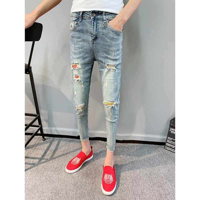 Pantalones De Pitillo Ajustados Para Hombre Jeans De Moda Para Adolescentes Vaquero Rasgados En Los Pies Con Agujero Para Actos Sociales Primavera Y Verano 2020 Pantalones Vaqueros Aliexpress