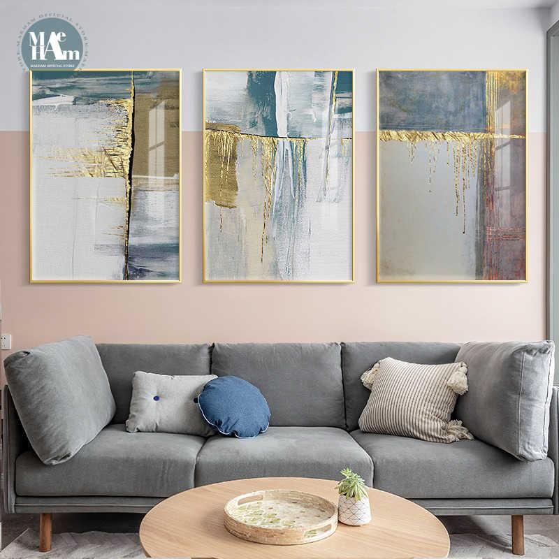 Абстрактная Геометрическая Золотая фольга с линиями золотого дерева, настенный плакат, Современная Картина на холсте, искусство для гостиной, домашний декор, картины