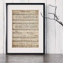 Impresiones en lienzo antiguo tema de la Biblia verso cita pintura Estilo nórdico Vintage hoja de música cartel Arte Cristiano decoración de la pared cuadro